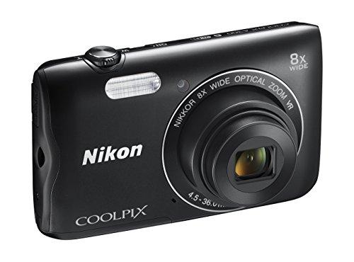 Nikon Coolpix A300 Fotocamera Digitale Compatta, 20.1 MP, Zoom Wide 8x, VR, Filmati HD, Bluetooth, Wi-Fi, Nero [Nital Card: 4 Anni di Garanzia]
