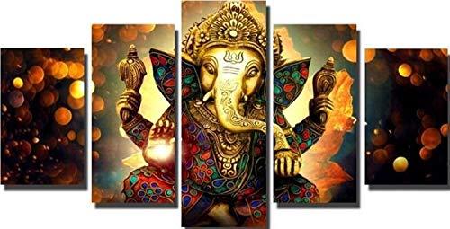 HNTHBZ Leinwand-Malerei 5 Verkleidungs Ganesha Wall Art Poster Hindu Gods Leinwand-Malerei Drucke Auf Leinwand for Wohnzimmer Hauptdekoration Geschenk WWJYB0019