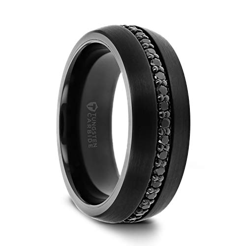 Thorsten Valiant Wedding Ring Band with Black Sapphires
