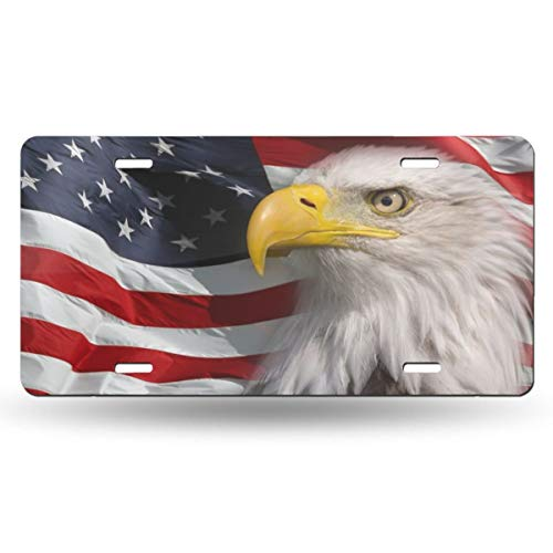 Ja Yhou dontcy Bald Adler USA-Flagge dekoratives Auto-Nummernschild, Schminkschild, Metall-Autoschild, Aluminium-Nummernschild, 15,2 x 30,5 cm (4 Löcher)