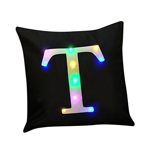 """ZUODU Black Velvet Cushion Cover Creative LED Colorful Flashing Velvet Letter Cushion Cover Pillow Cover Bar Use Party Use Festival Use Gift Use18""""x18"""" or 45cm x 45cm 1pc (T)"""