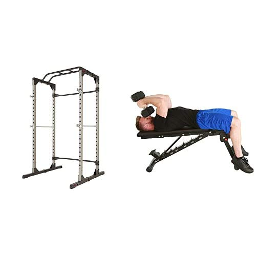 """Fitness Reality Multi-Function, Adjustable Squat Rack with 2000 XL """"No Gap"""" Weight Bench Combo (2838)"""
