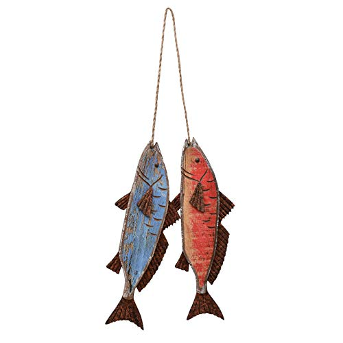 Attraction Design Wooden Fish Decor Hanging Wood Fish Decorations for Wall, Rustic Nautical Fish Decor Beach Theme Home Decoration Fish Sculpture Home Decor for Bathroom Bedroom Lake House Decoration (Blue & Red)
