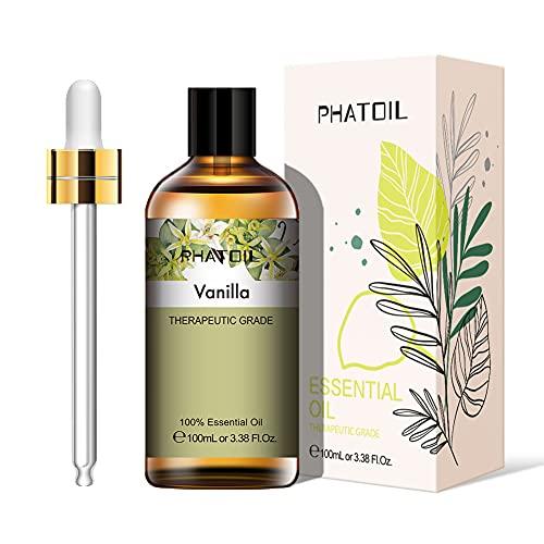 PHATOIL Aceites Esenciale de Vainilla 100 ml, 100% Naturales Puros, Aceite Esencial de Aromaterapia de Grado Terapéutico, Aceite Esenciales para Humidificador, Difusor, Regalos Perfectos