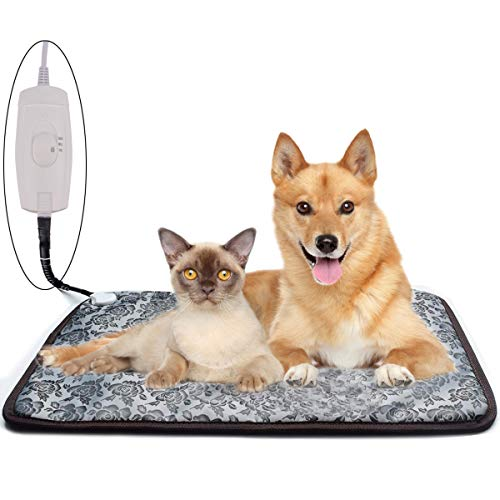 Pet Heating Pad for Cats Dogs, Homello Waterproof Electric Heating Mat Indoor, Adjustable Warming Mat, Pets Heated Bed with Chew Resistant Steel Cord (33 x 21)