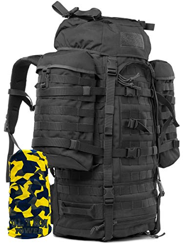 Wisport taktischer Militär Rucksack Damen Herren | Tactical Backpack groß | Military Pack Molle | Assault | schwarzer Armeerucksack für Männer | Cordura | Wildcat 65L + Ultrapower Halstuch; Black