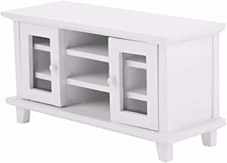 iLAZ 1:12 Scale Dollhouse Furniture Miniature Mini TV Cabinet - White for Doll House, Miniature Accessory Kids Pretend To...