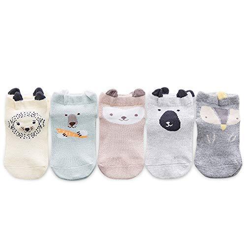 DORRISO 5 Paar Baby Socken Niedlich Little Socken Baby 0-8 Jahre alt Baby Mädchen und Jungen Baby Socken Kinder Anti-Rutsch-Socken Baumwolle