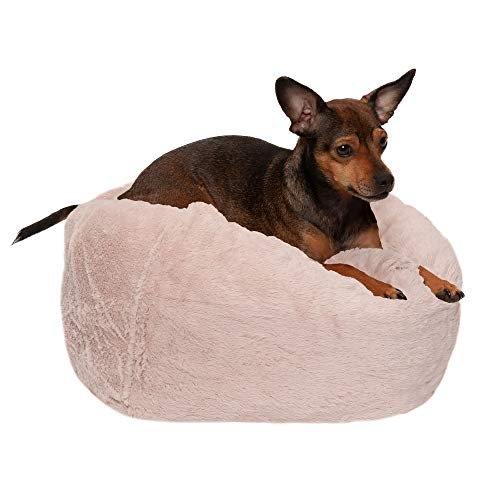 FurHaven Pet Dog Bed | Round Plush Ball Pet Bed for Dogs & Cats, Shell, Small