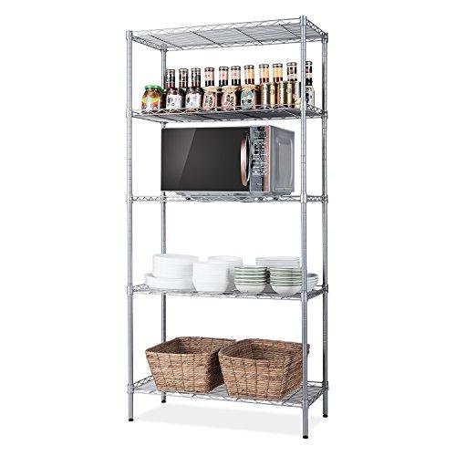 "SINGAYE 5 Tier Storage Rack Wire Shelving Unit Storage Shelves Metal for Pantry Closet Kitchen Laundry 660Lbs Capacity 23.6"" L x 14"" W x 59.1"" H Silver"