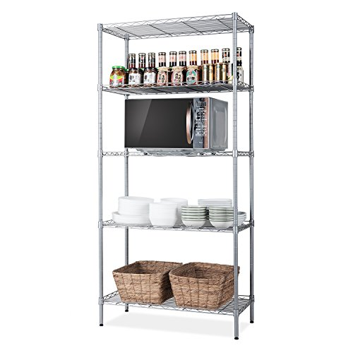 "SINGAYE 5 Tier Storage Rack Wire Shelving Unit Storage Shelves Metal for Pantry Closet Kitchen Laundry 660Lbs Capacity 23.6"" L x 14"" W x 59.1"" H Silver"