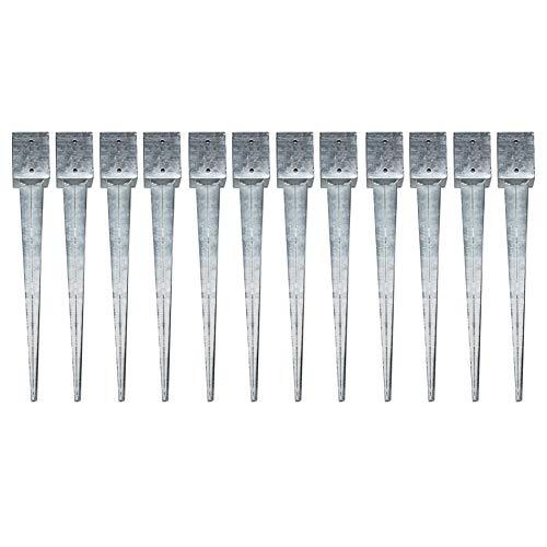 12 Einschlaghülsen Vierkant 101x101x750 mm für Zaunpfosten Gartenzaun