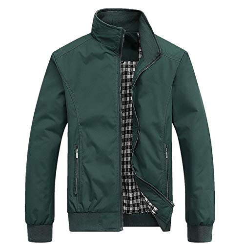 PERDONTOO Men's Slim Fit Lightweight Softshell Flight Bomber Jacket Coat (Large, Green)