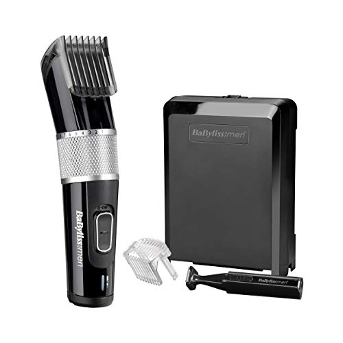Babylissmen Carbon Steel Hair Clipper Includes Hair and Beard Comb Guides, Includes Mini Trimmer for Edging