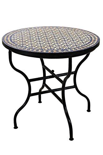 ORIGINAL Marokkanischer Mosaiktisch Gartentisch ø 80cm Groß rund klappbar | Runder klappbarer Mosaik Esstisch Mediterran | als Klapptisch für Balkon oder Garten | Albaicin Beige Blau 80cm
