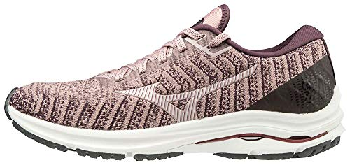 Mizuno Women's Wave Rider 24 WAVEKNIT Running Shoe, Woodrose-Pale Lilac, 6.5 B US