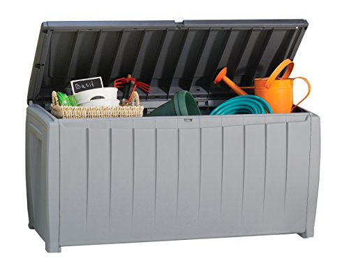 Keter Novel 90 Gallon Resin Deck Box-Organization and Storage for Patio Furniture Outdoor Cushions, Throw Pillows, Garden Tools and Pool Toys, Grey/Black