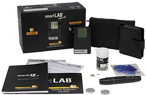 smartLAB mini nG Blutzuckermessgerät Bundle in mg/dL in Scheckkartenformat Schwaz mit 50 Teststreifen und 50 Lanzetten