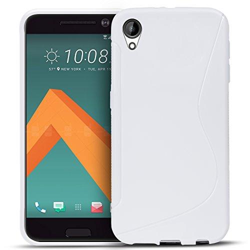 Conie SC5974 S Line Hülle Kompatibel mit HTC Desire 825, TPU Smartphone Hülle Transparent Matt rutschfeste Oberfläche für Desire 825 Rückseite Design Weiss
