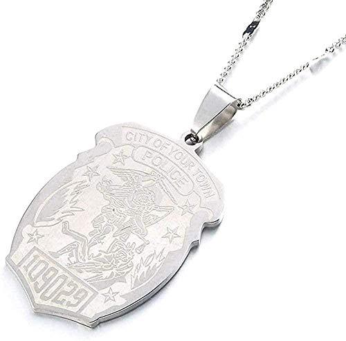 FACAIBA Collar Insignia de policía Personalizada de Acero Inoxidable con número de Insignia de Departamento Regalo de joyería