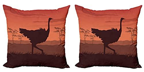ABAKUHAUS Avestruz Set de 2 Fundas para Cojín, La Puesta del Sol Salvaje del pájaro Silueta, con Estampado en Ambos Lados con Cremallera, 60 cm x 60 cm, Marrón castaño Canela
