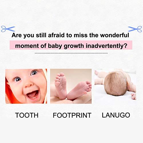 Juesi Baby Teeth Keepsake Box with Photo Frame Wooden Tooth Storage Holder Organizer, Tooth Box+Cotton+Tweezers+Sticker+Baby Bottle+Screwdriver Souvenir Set (English Version)
