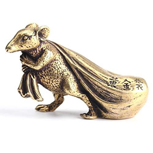 FADDARE Maus Ornament Massivem Messing Tierkreis Ratte Figuren Geld Glück Glück Feng Shui Statuen Schreibtisch Handwerk Kleine Statue für Amulett Chinesischen Stil