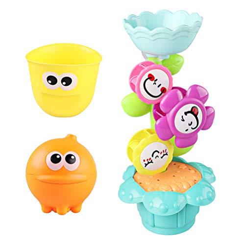 Baby Badespielzeug Set - Süße Blume Wassermühle, Smiley-Tasse, Octopus Sprinkler Spielzeug, BPA frei Spielzeug mit Saugnapf für die Badewanne