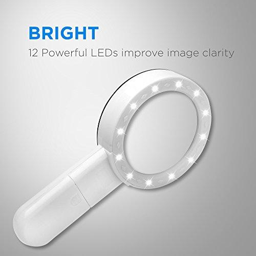 Fancii 5 Fach Vergrößerungsglas LED Handlupe mit Licht, große 90mm verzerrungsfreier beleuchtet Lupe mit Glas Objektiv - 4