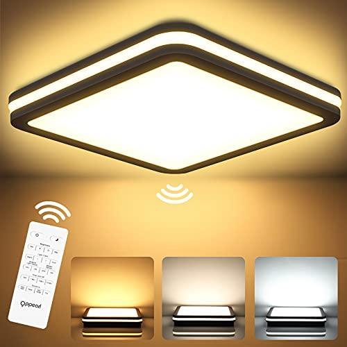 Plafoniera a LED con sensore di movimento, 24 W, 2400 lm, dimmerabile con telecomando, funzione memoria, IP54, lampada a sensore per garage, scale, cantina, corridoio, balcone, corridoio, bagno