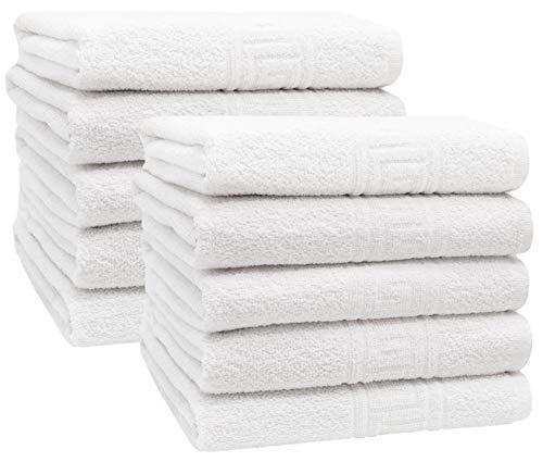 ZOLLNER Set 10 Toallas de Lavabo, Blancas, 50x100 cm, 80% algodón