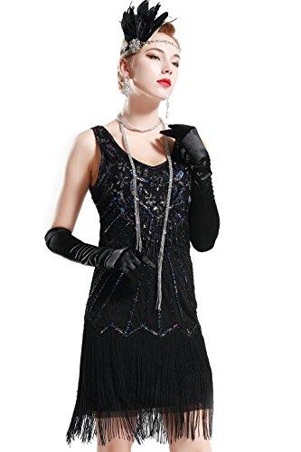 BABEYOND Años 20 Estilo Vintaje Vestido con Cuello en V Gatsby Disfraz Vestido con Flecos de Lentejuelas (Negro, S)