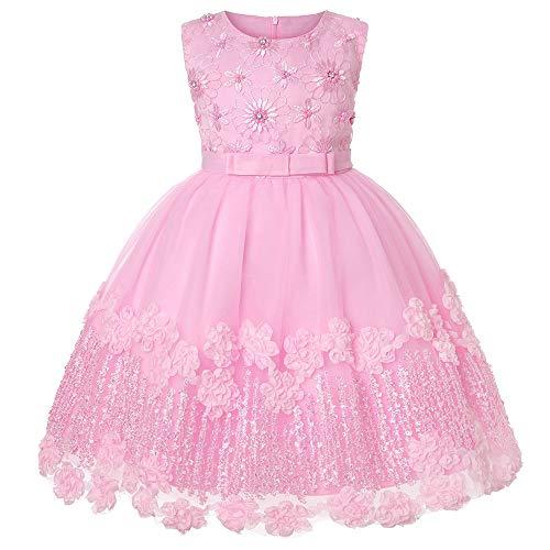Cichic Kinder Kleider Mädchen Prinzessin Kleid Geburtstags Hochzeits Partei Tüll Kleid Mädchen Formale Kleider Pageant Brautjungfer Prom Kleid (3-4Jahre, Rosa Spitze)