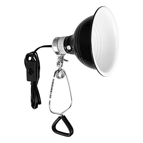 Simple Deluxe PTDMLTCLAMPS Reptile Dome Light Clamp Lamp Fixture with 5.5 Inch Aluminum Reflector for Amphibian Pet Terrariums Habitat (no Bulb Included), Black , 60w Dome Light