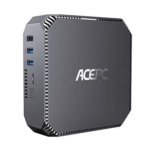 ACEPC Mini PC Windows 10 Pro, 8 GB DDR3 128 GB m-SATA SSD Intel Celeron J3455 Mini ordenador de sobremesa, Gigabit Ethernet, Dual HDMI