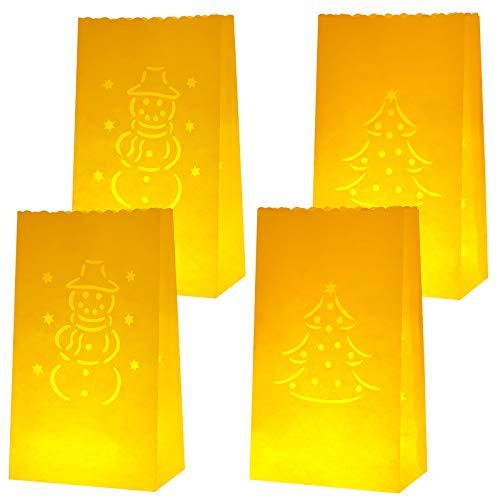 Aneco 24 Stück Lichttüten schwer entflammbar Leuchttüten Weiß Papier Laterne Taschen Teelicht Kerzenhalter mit Schneemann Weihnachtsbaum Design für Weihnachten Party Zuhause Outdoor