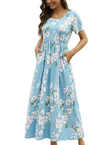 CHERFLY Damen Sommer Maxikleid Casual Elegant Freizeitkleid Kurze Ärmel mit Taschen (HellblaumitWeiß,XL)