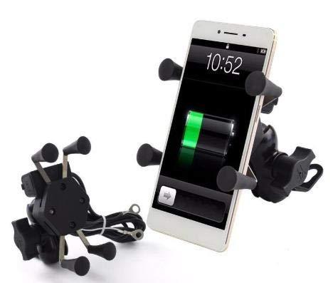 Suporte Celular c/Carregador USB Garra Aranha para Moto Fixação no Retrovisor