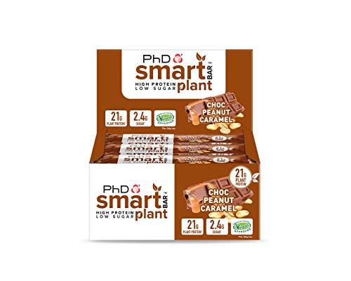 PhD Smart Bar Plant-High Protein Low Sugar, Vegan approved, Chocolate coated Protein Bar , (Choc Peanut caramel), 12 Bars