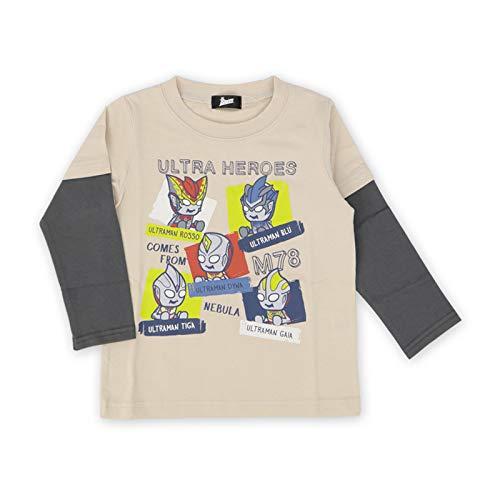 ウルトラマン パンソンワークス 長袖 Tシャツ 100 110 120 男の子トップス 重ね着風 キッズ 男児 幼稚園 保育園 子供 男の子 綿 キャラクター (ベージュ, 100)