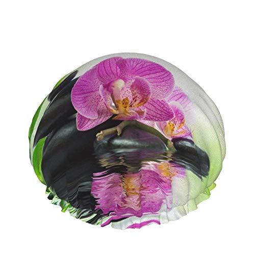 Gorro de ducha de bambú con orquídeas y rocas para mujer, sombrero...