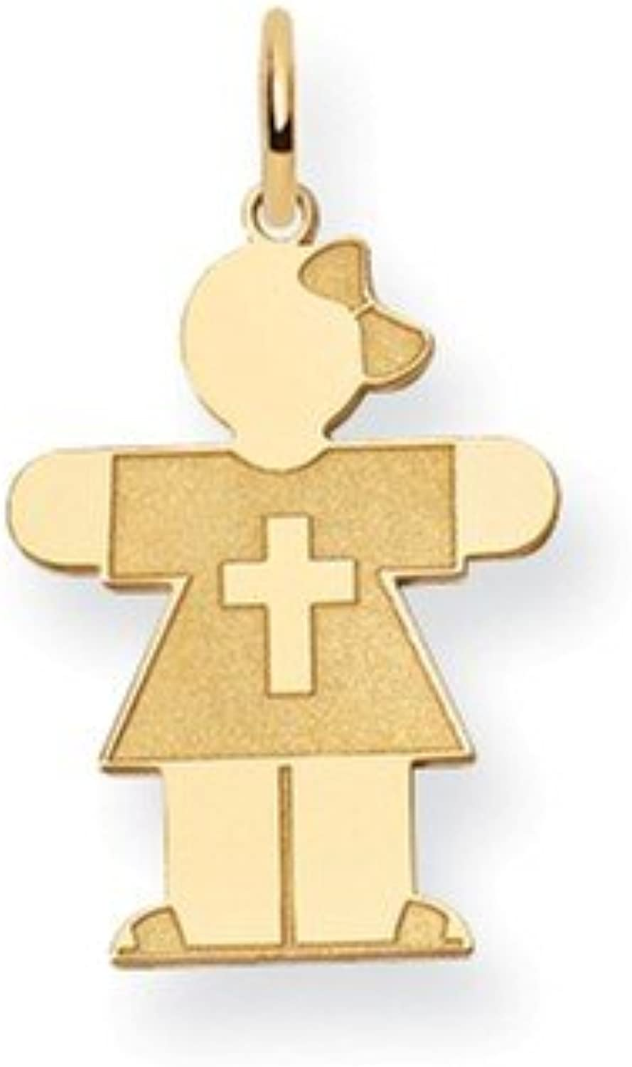 14k Yellow gold Religious Girl With Bow Hugs Charm