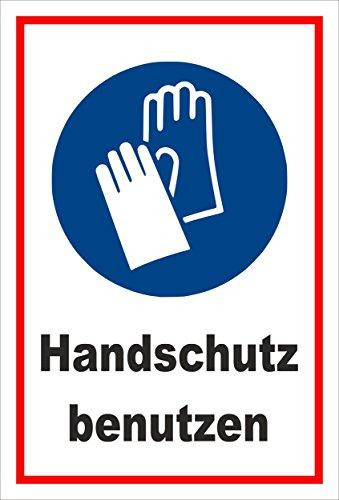Melis Folienwerkstatt Aufkleber - Gebots-zeichen - Hand-schutz benutzen - entspr. DIN ISO 7010/ASR A1.3 – 30x20cm – S00361-018-B +++ in 20 Varianten