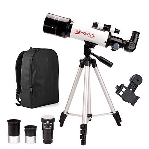 Moutec Teleskop für Astronomie-Anfänger, Refraktor-Teleskope für Kinder und Erwachsene mit Rucksack, Smartphone-Adapter & verstellbarem Stativ – Zwei Okulare und 2 Barlowlinsen