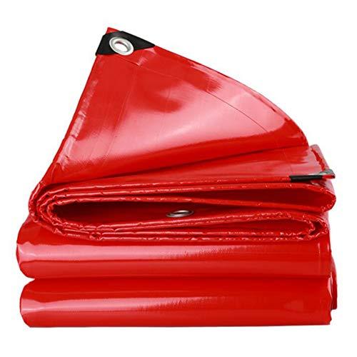 Lonas Impermeables,Lona De PVC Resistente,Protección Solar A Prueba De Lluvia,Cubiertas De Hoja De Tierra De Linóleo,Bordes Reforzados con Agujeros De Metal,550 G/M²(Color:Rojo,Size:4 × 4 m)