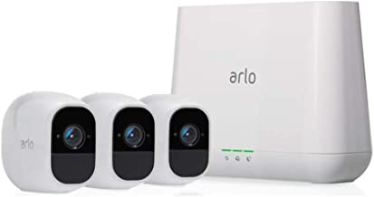 Arlo Technologies Pro 2- 3 Camera System, Work with Alexa, Inbuilt alarm siren, Rechargeable, Wire-Free, 1080p HD, Audio, ...