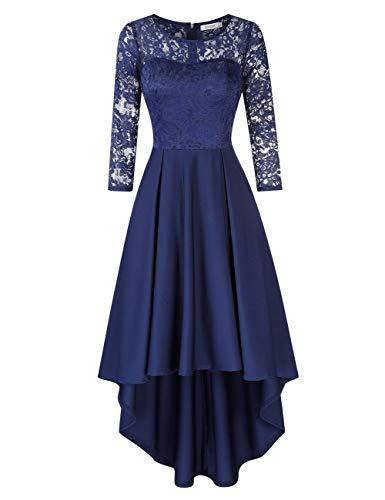 KOJOOIN Damen Abendkleider/Cocktailkleid/Brautjungfernkleider für Hochzeit Unregelmässiges Kurzespitzenkleidangarm Navyblau Dunkelblau,L