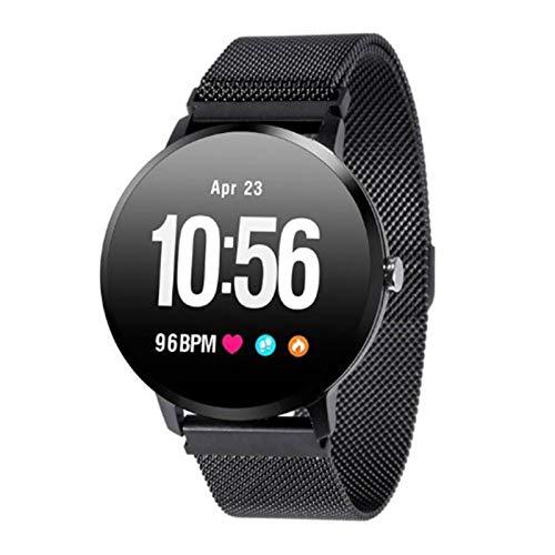 Wsaman Contador de Calorías Smartwatch Impermeable Fitness Tracker con Monitoreo del Sueño Deportivo Reloj Fitness con Pantalla Táctil Completa Pulsómetro, para Android/iOS/Hombre/Mujer,Black a