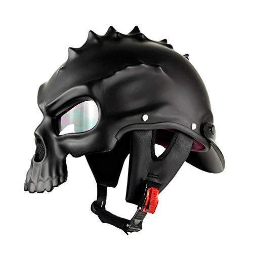 Nobranded Halber Helm Retro Vintage Cool Skull Motorradhelme Benutzerdefinierte Männer Oepn Face Capacetes Predator Helm Dot Half Face Motor Kask