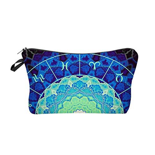Lurrose Trousse de maquillage Constellation Vintage Sac à cosmétiques imprimé Trousse de toilette spacieuse et colorée pour les voyages (Bleu)
